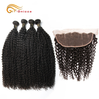 Malaysian Kinky Curly Bundles With Frontal Human Hair Bundles With Frontal Remy Hair Curly Bundles With Frontal Hair Extension