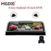 HGDO Новый 4G видеокамера на ОС андроид для автомобиля регистраторы 4 объектив 10 дюймовый навигационный ADAS gps Wi Fi Full HD видео с разрешением 1080 P Ре