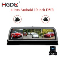 HGDO New 4G Android Car DVR Dash cam 4 Lens 10 inch Navigation ADAS GPS WiFi Full HD 1080P  Video Recorder 2+32GB Vehicle Camera e ace 4g car dvr camera adas android autoregister with gps navigation full hd 1080p video recorder two cameras vehicele blackbox