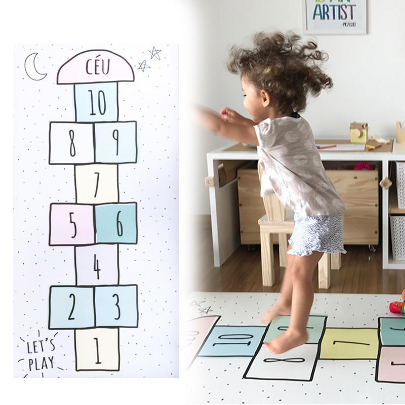 Bébé numéro tapis treillis lettre imprimé tapis de jeu coton jeux tapis chambre décoration enfants literie jouet enfants cadeau 80*160 cm
