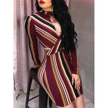 Mini Dress Evening-Party-Club Long-Sleeve Bodycon Stripe Summer Sexy Fashion Womens