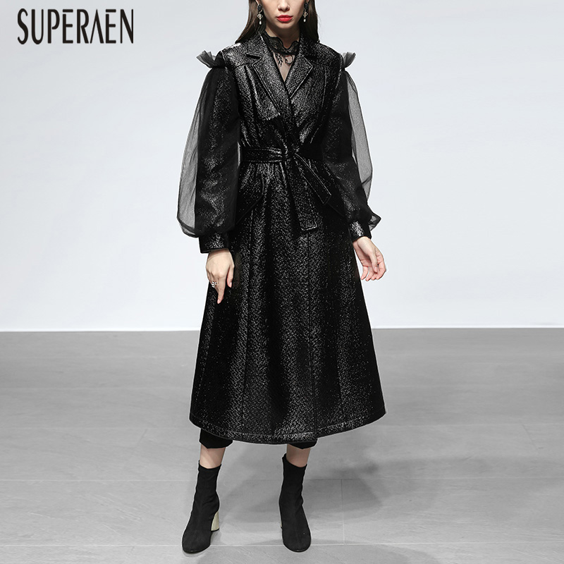 SuperAen   Trench   Coat for Women 2018 New Winter Wild Casual Fashion Leather Ladies Windbreaker Solid Color Long Coats Female