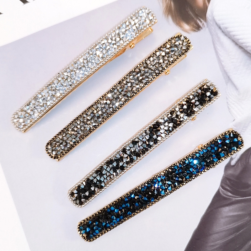 New 1Pc Bling Crystal Hairpins Headwear For Women Girls Rhinestone Leopard Bow Hair Clips Pins Barrette Styling Tools