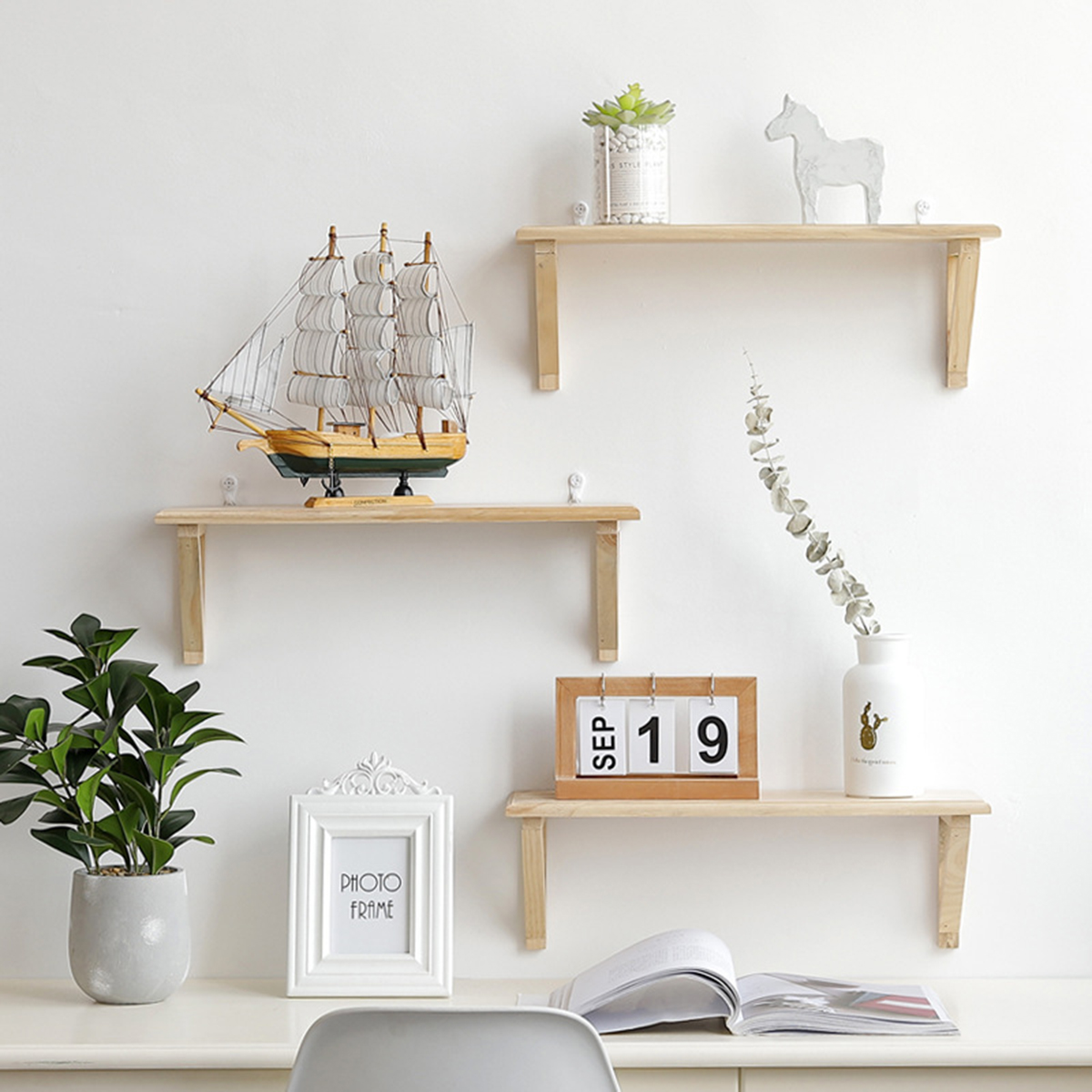 1 Pc Wall Shelf Solid Wood Decorative Storage Rack Bookshelf Hanging Storage Shelf Rack For Home And Living Room Decoration