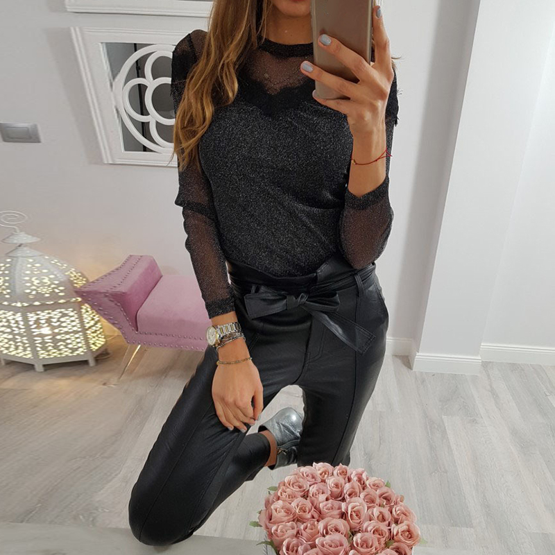 Sequin Top Women 2019 Autumn Hot Sale Fashion Long Sleeve Mesh Patchwork T Shirt Ladies Hollow Out Sexy Crop Tops Streetwear