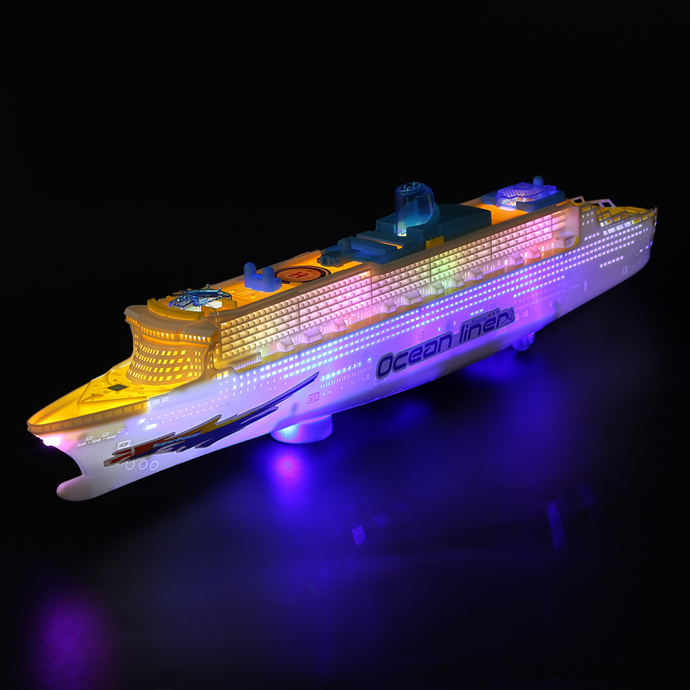 Electric Ocean Liner Cruise Ship Flashing LED Light Kids Musical Early Educational Toy Flashing Light Electric Cruises Toys