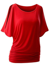 ROSE GAL Plus Size T Shirt Women Summer Femme Slim Casual Funny T-Shirt Loose Slit Bat Short Sleeve O-Neck Tee Shirt Tshirt slit sleeve metallic tee