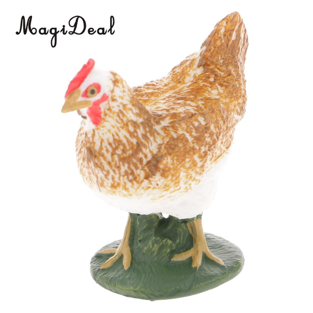 MagiDeal 1Pc Realistic Hen Chicken Farm Yard Animal Figurine Model Action Figure Kids Children Toy