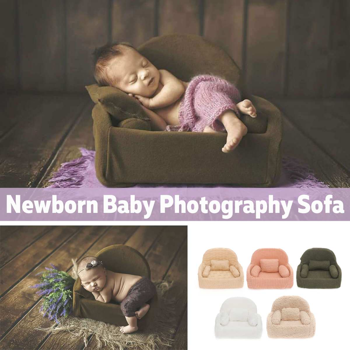 Newborn Photography Props Mini Posing Sofa Pillow Set Chair Decoration Baby Photography Accessories Infant Studio Shooting Props