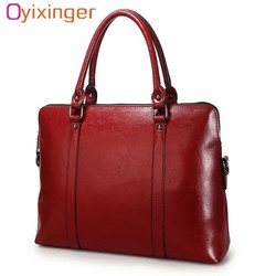 Oyixinger New 100% Genuine Leather Briefcase For Woman 14 inch Laptop Bag Women's Handbags Office Ladies Shoulder Messenger Bags