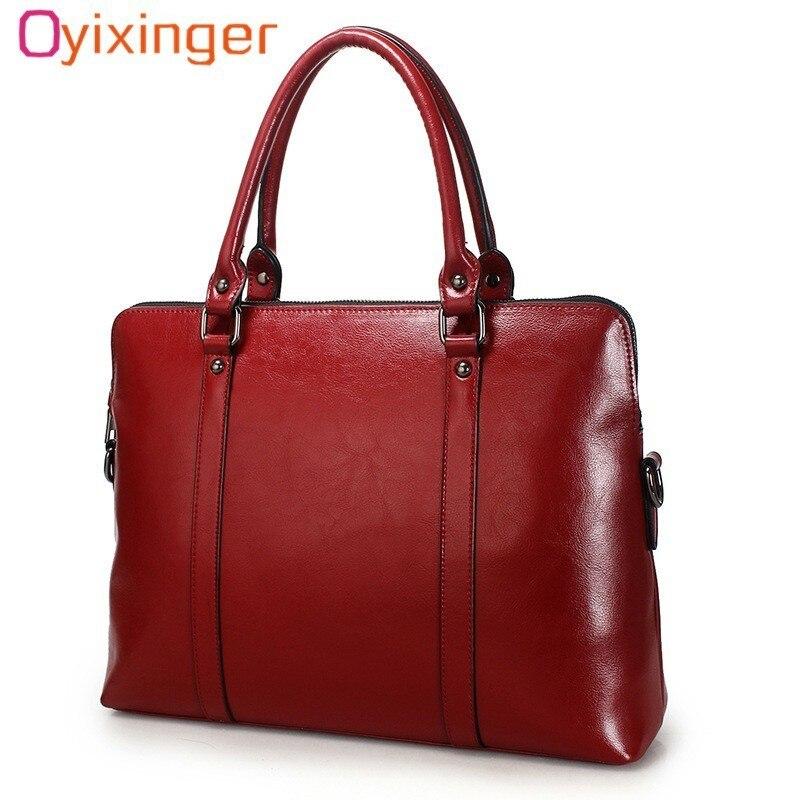 Oyixinger nouveau 100% véritable mallette en cuir pour femme 14 pouces pochette d'ordinateur femmes sacs à main bureau dames épaule Messenger sacs