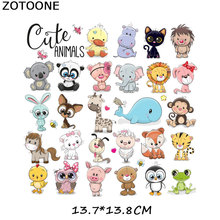ZOTOONE Cute Bear Animals Patches Iron-on Transfers for T-Shirt Heart Applique Children DIY Clothes Stickers Lovely Dolphin D