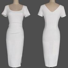 2019 Backless Side Zippers Split Bodycon Dress Women Square Collar Short Sleeve Midi Dress Summer Casual Slim Solid Dress