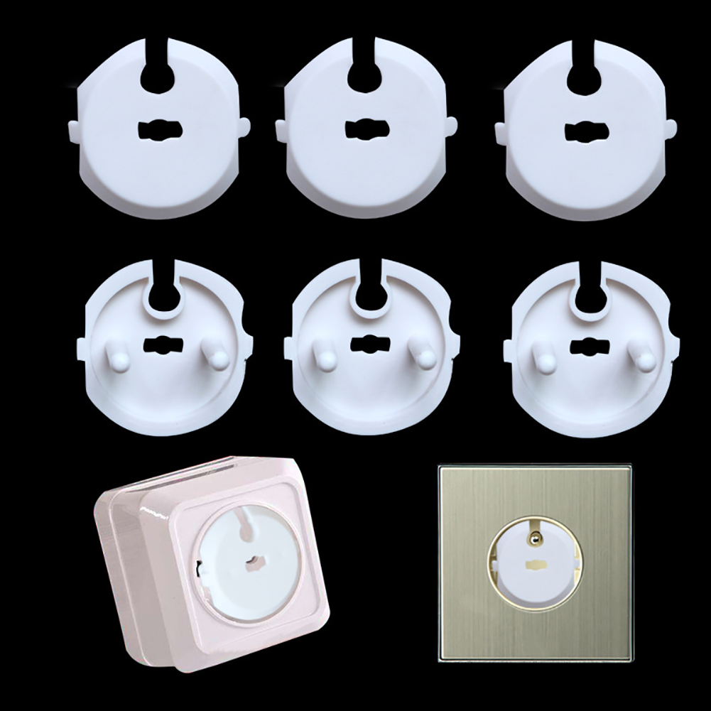 6PCS Socket Cover+2PCS Key Set For Home Protection Cover Protect Toddlers Baby Safety Socket Childproof Anti-electric Shock