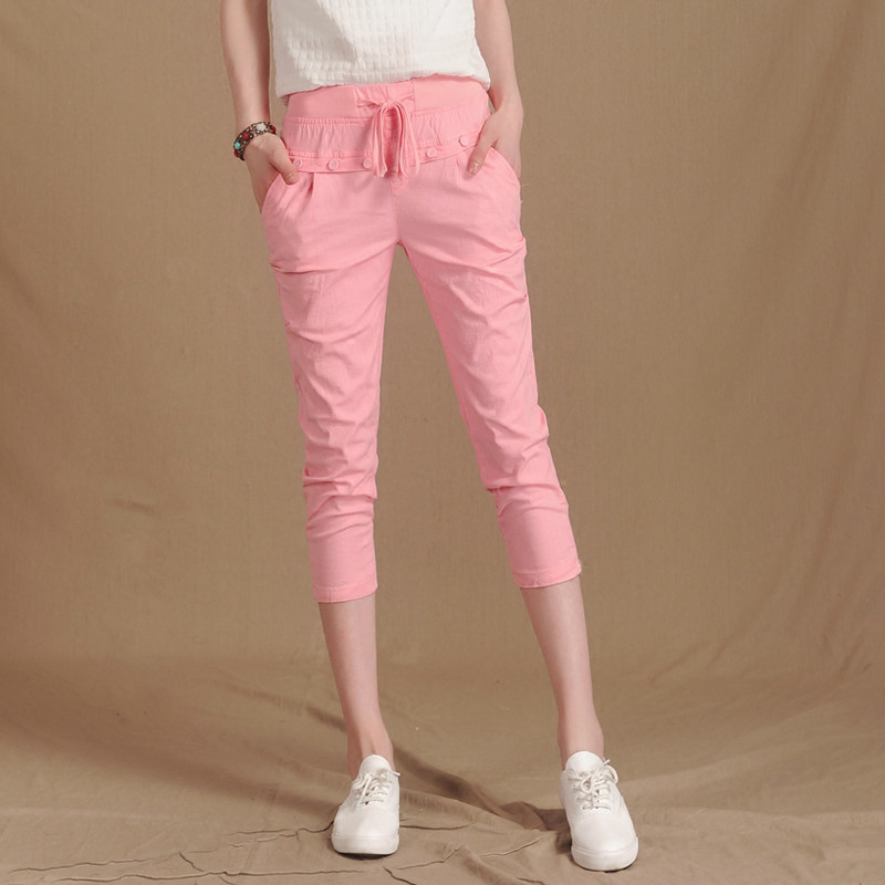 Summer Women Cotton Linen Pants Capris Casual Loose Solid Elastic Waist Female Plus Size Harem Trousers