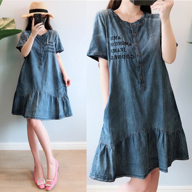 Summer Dress Women Plus Size 5XL Casual O-neck Short Sleeve Denim Dresses Women Knee Length Denim Jeans Women Dress 2019 Robe 1