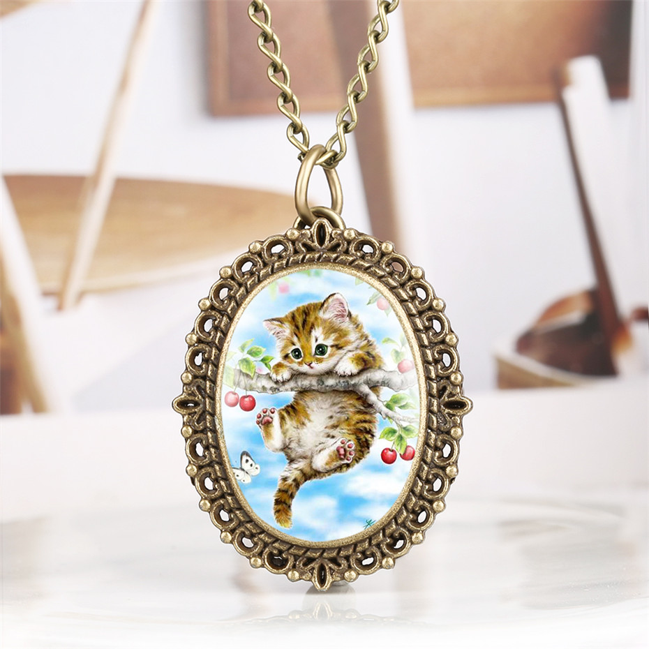 Cute Cat Display Quartz Pocket Watch Bronze Oval Shape Pendant Clock Exquisite Necklace Watch Gifts For Women Girl Reloj