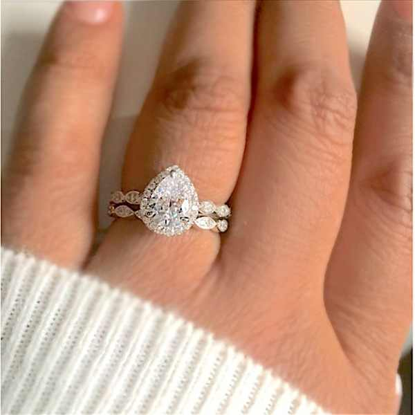 925 Sterling Silver Pear Shaped Marquise Cut Zircon Wedding Ring