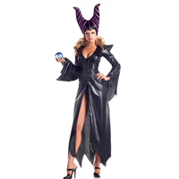 Halloween Ladies Witch Sorceress Maleficent Fantasia Costume Dress and Horn Cosplay Outfit