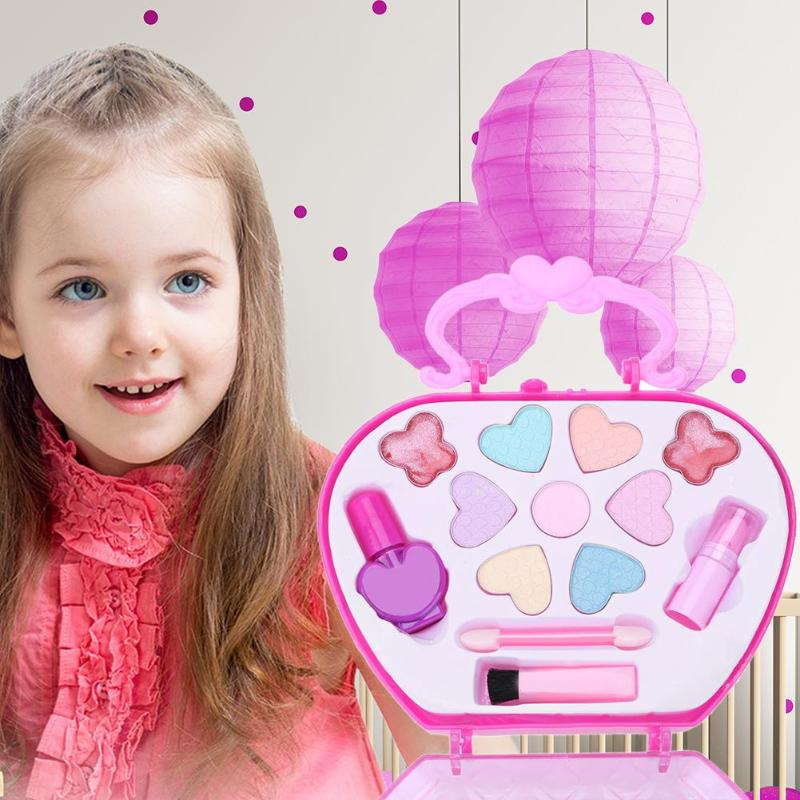 Kids Cosmetic Pretend Play Toys Girls Face Beauty Manicure Makeup Gift Kits Pretend Play