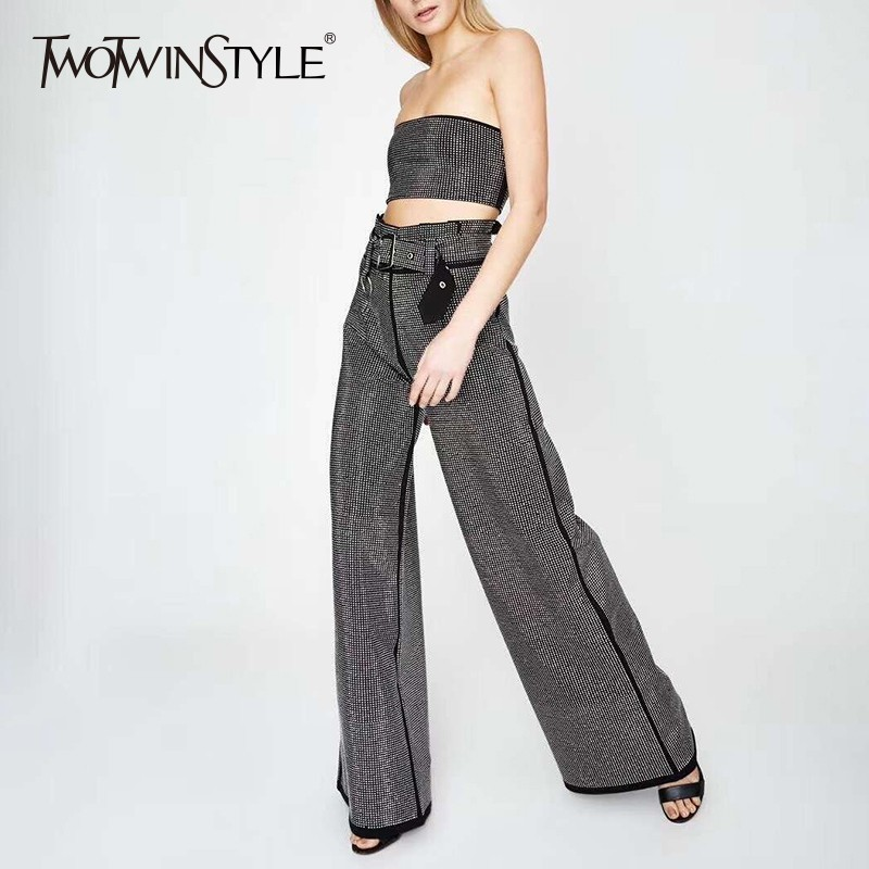 TWOTWINSTYLE Heavy Diamonds Patchwork Two Piece Sets Female Strapless Crop Tops High Waist Wide Leg Pants