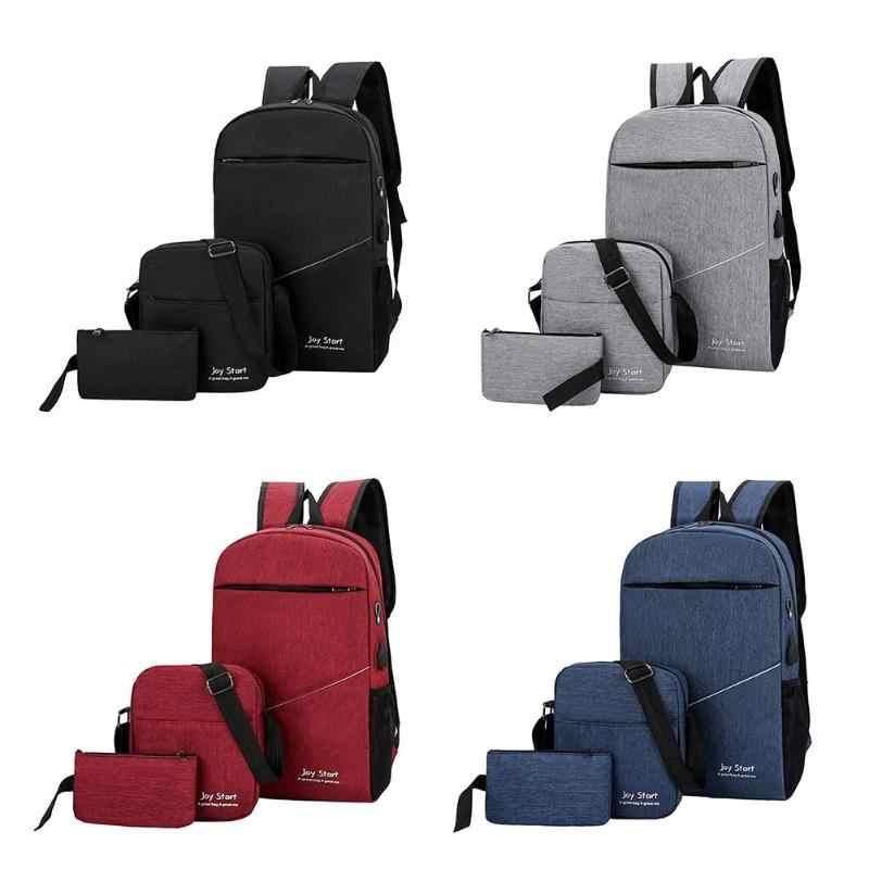 8bdb280f3f71 ... 3pcs set Womens Mens Backpacks Bags Unisex Travel Nylon Purse Shoulder  School Bags Clutch Solid ...