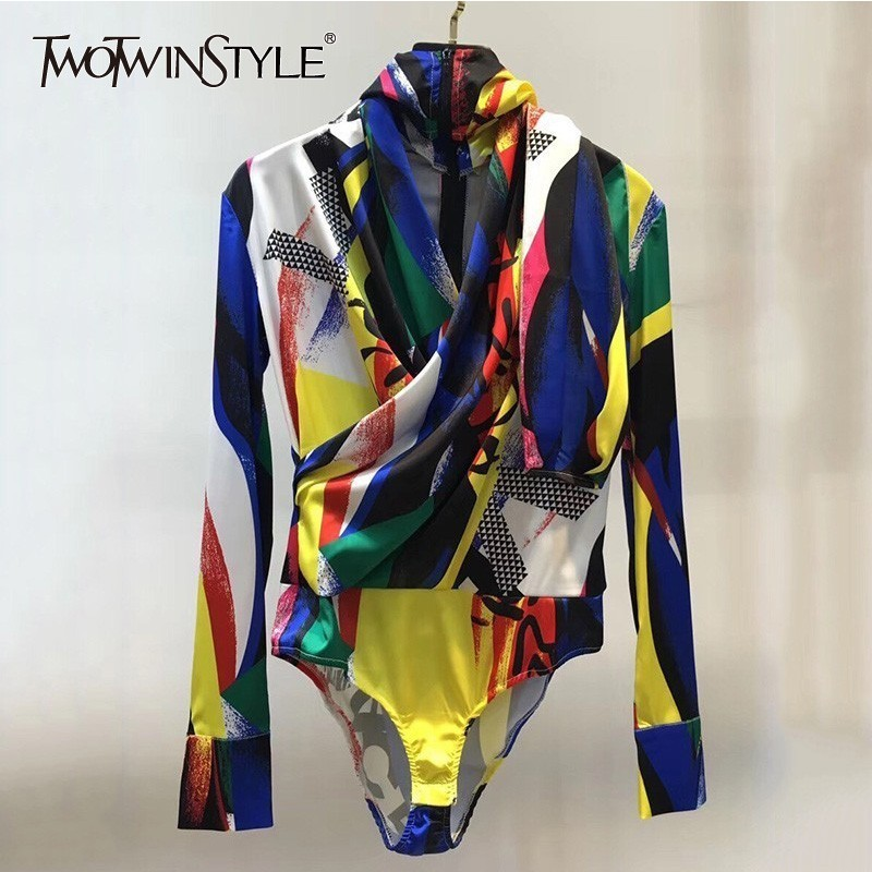 TWOTWINSTYLE Hooded Bodysuits For Women V Neck Long Sleeve Hit Colors Fashion Women's   Jumpsuit   2019 Spring Fashion Clothes
