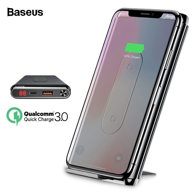 Baseus 10000 мАч Quick Charge 3,0 запасные аккумуляторы для телефонов Qi беспроводной зарядное устройство iPhone Xiaomi Mi PD Быстрый внешний батарея зарядное ус...