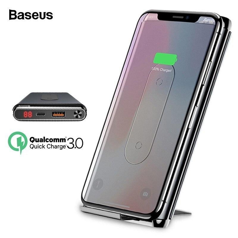 Baseus 10000 mah Carregamento Rápido Banco De Potência 3.0 Carregador Sem Fio Qi Para o iphone Xiao mi mi PD Rápido Bateria Externa carregador Powerbank