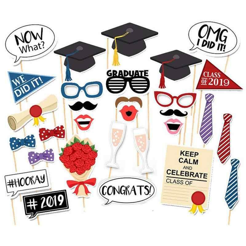 卒業セレモニーパーティーブースの小道具キット紙ひげ紙フォトフレーム写真の小道具の装飾