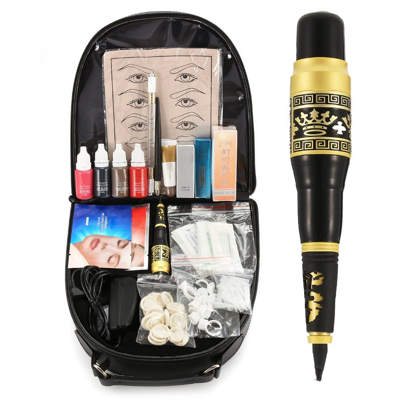 Permanent Eyebrow Makeup Tattoo Machine Pen Complete Cosmetic Microblading Pen Kit With Tattoo Accessories and Storage BagPermanent Eyebrow Makeup Tattoo Machine Pen Complete Cosmetic Microblading Pen Kit With Tattoo Accessories and Storage Bag