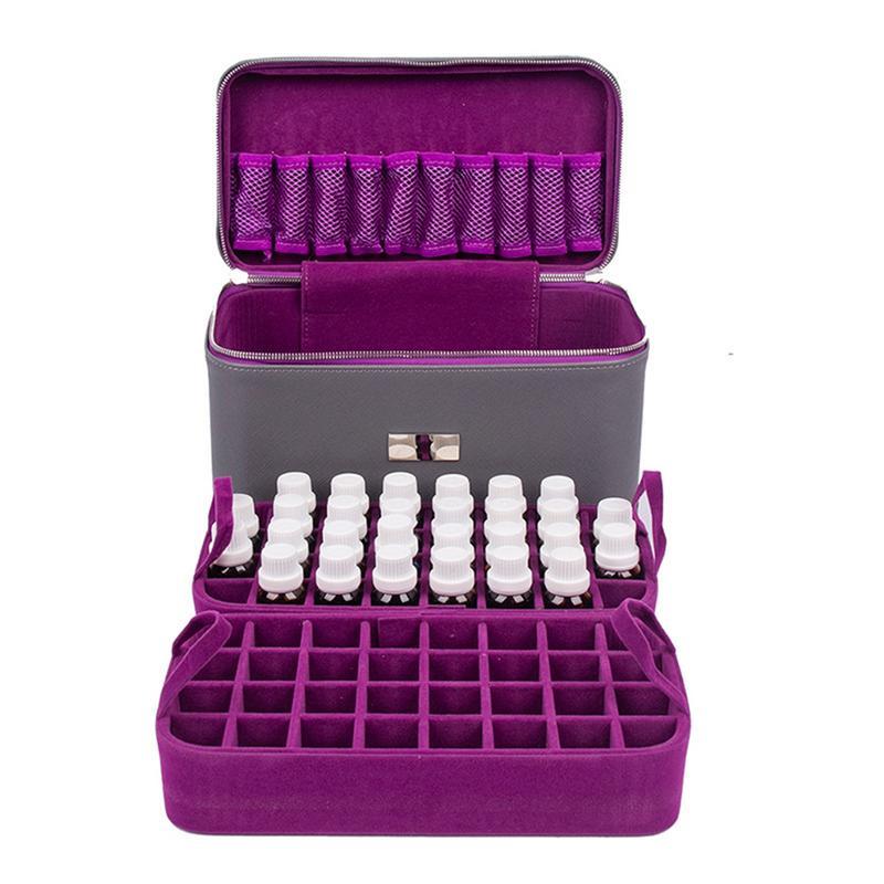 72 boîte de stockage de bouteille d'huile de grille trois-couche sac de stockage d'huile essentielle de grande capacité approprié aux bouteilles d'huile essentielle de 10/15 ML