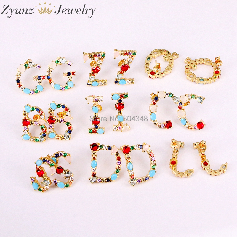 5 Pairs Alphabets Letter CZ Stud Earrings, Micro Pave CZ Zirconia Initial Stud Earring Women's Party Fashion Jewelry