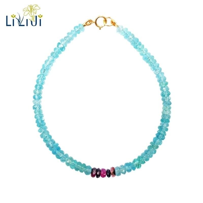 Lii Ji Apatite Tourmaline Bracelet 925 argent Sterling plaqué or pierre précieuse naturelle 3-4mm Bracelet bijoux délicats pour femme