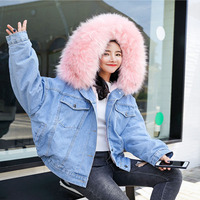 Velvet Thick Denim Jacket Women Winter Big Fur Collar Korean Locomotive Lamb Coat Female Short Coat Women's Winter Jacket