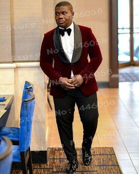 6d1395070b084 Erkekler Düğün Takım Elbise 2018 Balo Blazer Terno Slim Fit Bordo Kadife Takım  Elbise Erkek Kostüm Homme Damat Smokin Düğün Için Takımları