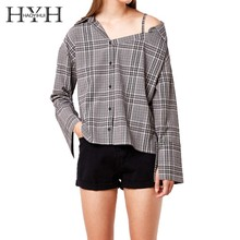 HYH HAOYIHUI  Sexy one-shoulder suspender shirt with open collar and retro Plaid pattern, single-row buttoned Long Sleeve Shirt one shoulder buttoned split sleeve bodysuit
