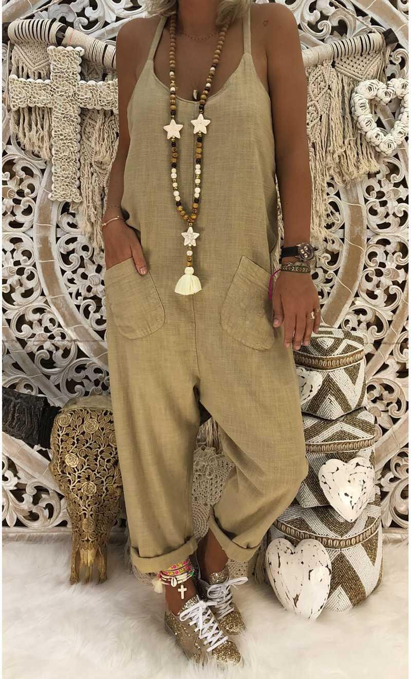 أنيق المرأة حزام أكمام مستقيم جيب بذلة السيدات القطن الكتان عموما الشارع الشهير بنطلون طويل حجم كبير S-2XL