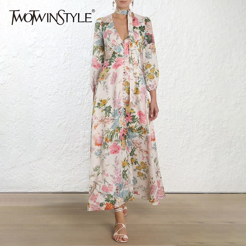 TWOTWINSTYLE Print Dress Female V Neck Lantern Sleeve High Waist Lace Up Ankle Length Dresses Women