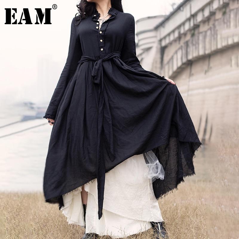 EAM 2019 New Spring Summer Lapel Long Sleeve Black Loose Hem Irregular Pleated Bandage Two
