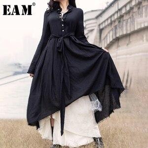 Женское асимметричное длинное платье [EAM], черное свободное плиссированное платье с воротником-стойкой и длинным рукавом, весна-лето-осень ...