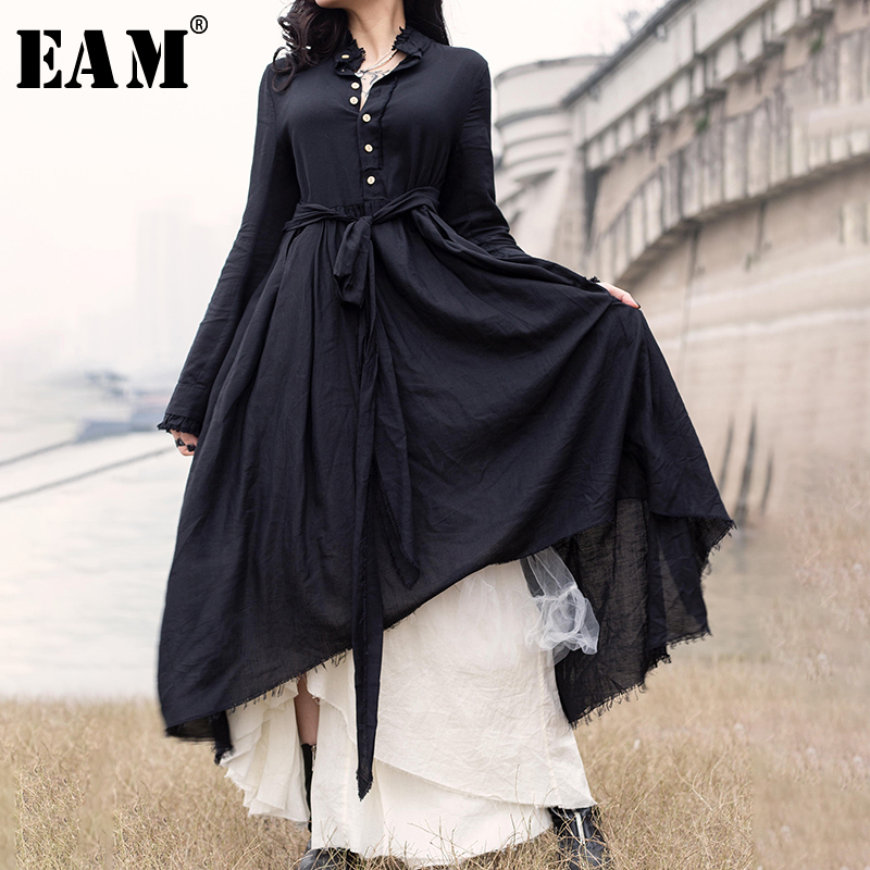[EAM] Women Black Pleated Irregular Long Dress Stand Collar Long Sleeve Loose Fit Fashion Tide Spring Summer Autumn 2020 JR474
