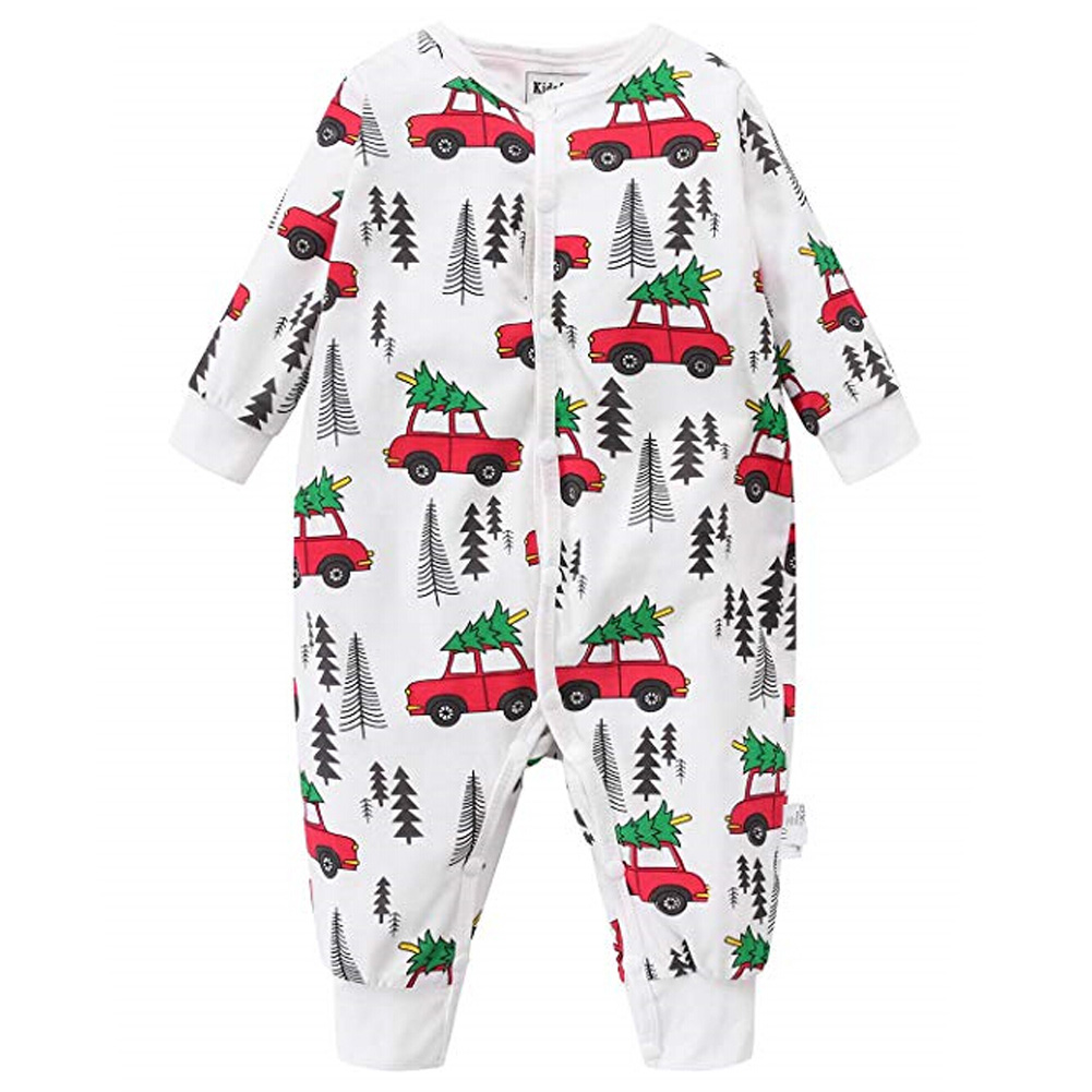 Christmas baby clothes Newborn Baby Boy Girl Cartoon   Romper   Long sleeve Jumpsuit kids baby Christmas pajamas
