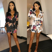 New Womens Floral Print Dress Long Sleeve V Neck Short Mini Evening Party Ladies Loose Summer Satin Silk Above Knee