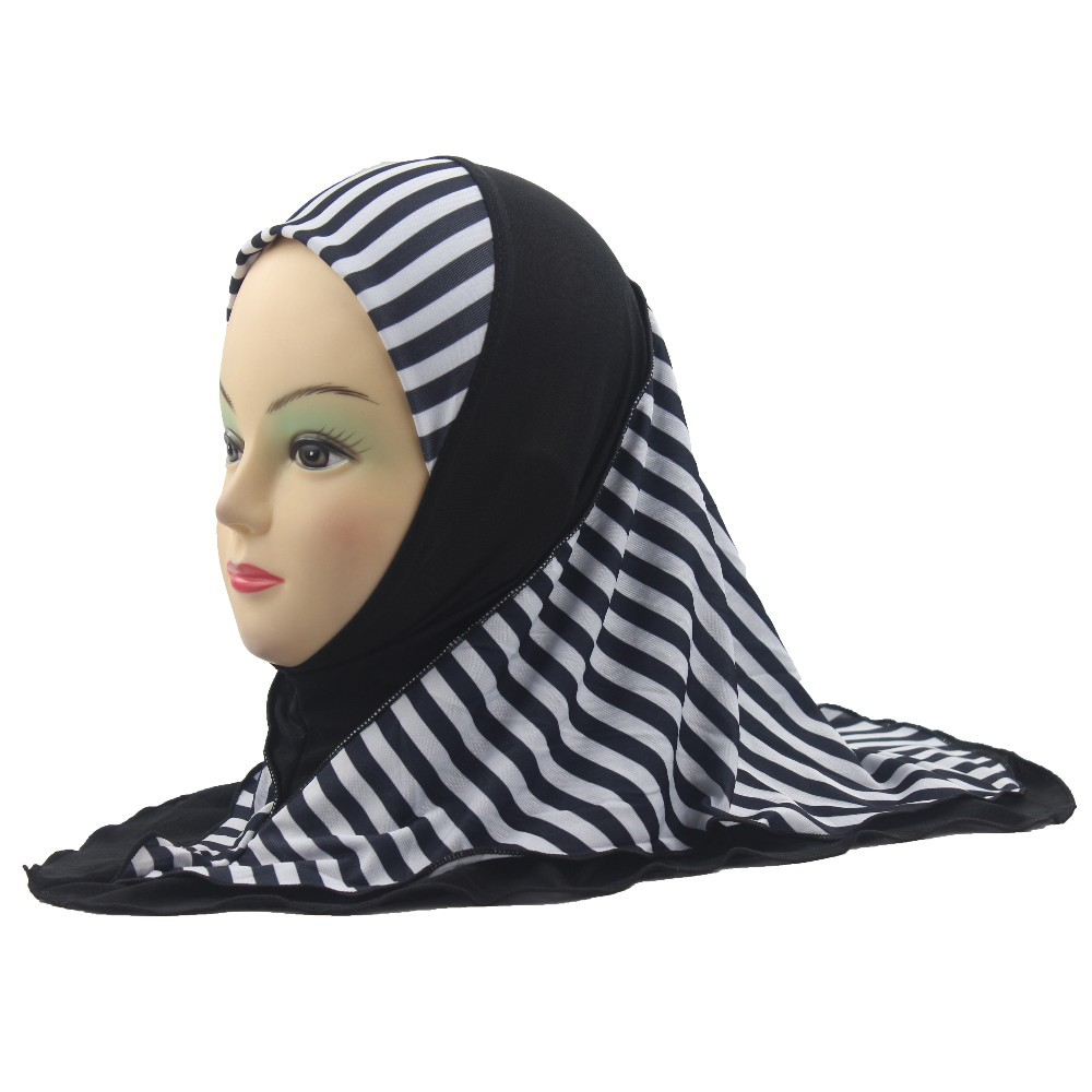 Girls Kids Muslim Hijab Islamic Arab Scarf Shawls Stripe Pattern Double Layers About 45cm
