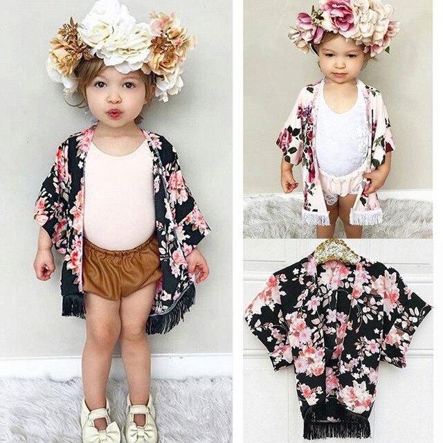 PUDCOCO Thời Trang Trẻ Em Bé Cô Gái Hoa Bìa UP Kimono Cardigan Khăn Choàng Trang Phục Mùa Hè Bãi Biển Cotton Quần Áo 1-4 T