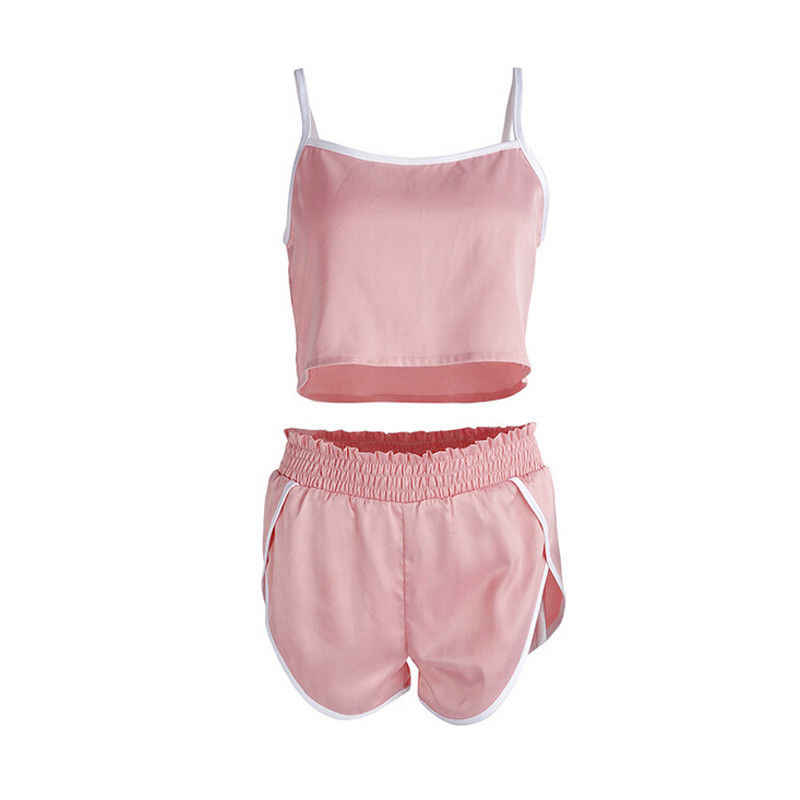 2019 najnowszy styl kobiety lato Sexy dwuczęściowy zestaw Crop Top + spodenki na co dzień strój spodenki sportowe garnitur