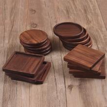 Tea Coffee Cup Pad Placemats Decor Walnut Wood Coasters Durable Heat Resistant Square Round Drink Mat 1 Pcs Bowl Teapot