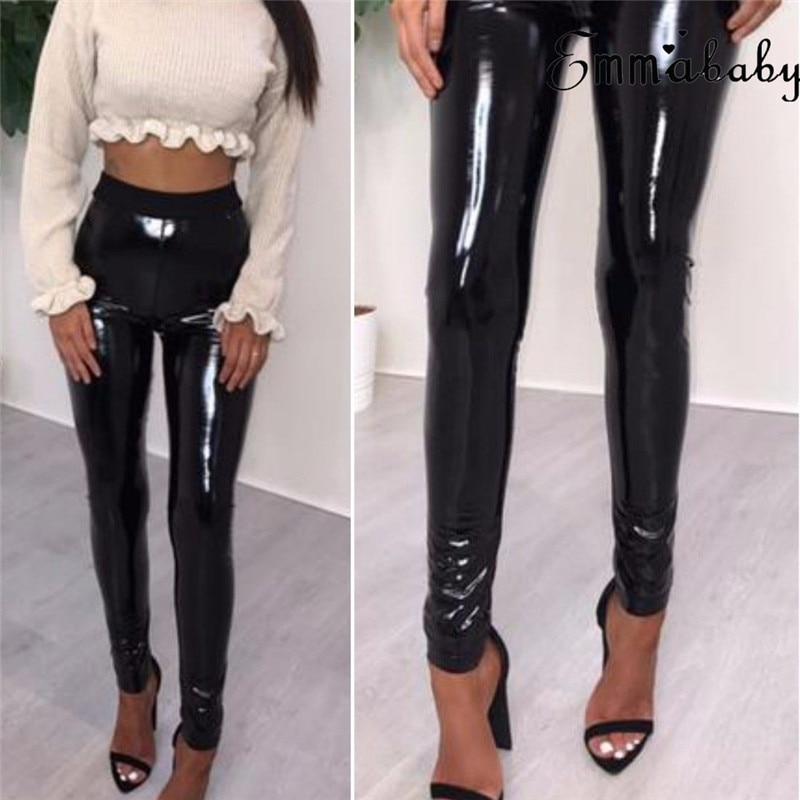 High Shine PU Disco Legging Slim Leg High Waist Trousers Wet Look PVC Style