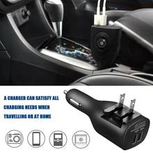 Car Wall Charger Dual Usb-poort 1 voor 2 Draagbare Oplader met Opvouwbare Plug voor Reizen Thuis 2.1A(China)